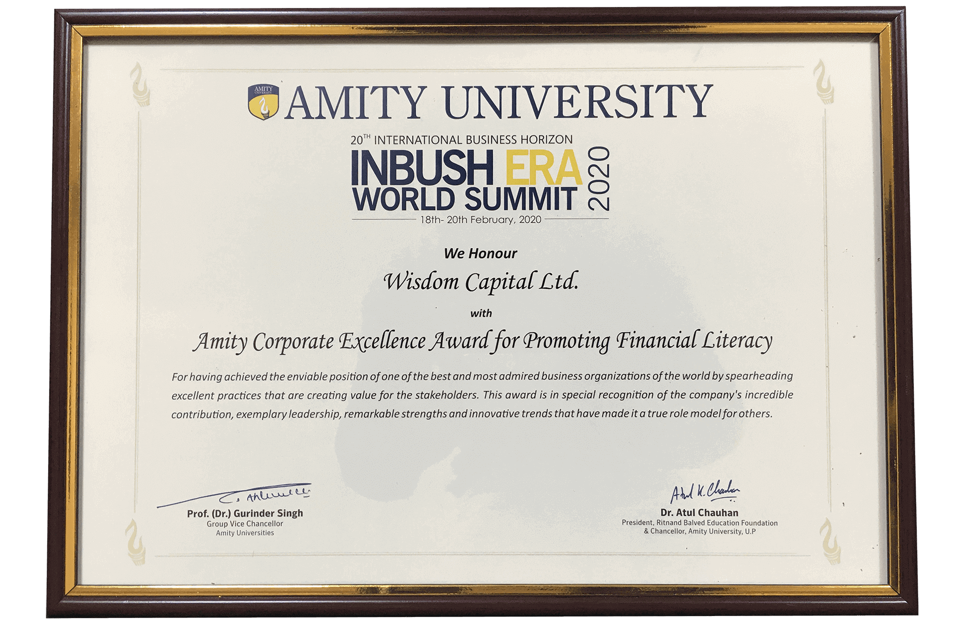 Amity Corporate Excellence Award for promoting Financial Literacy